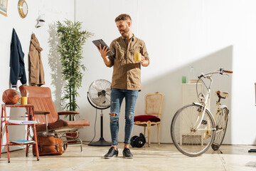 Man Reading News at Home