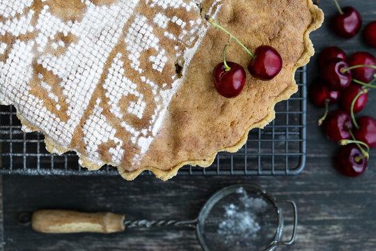 Cherry and frangipane tart