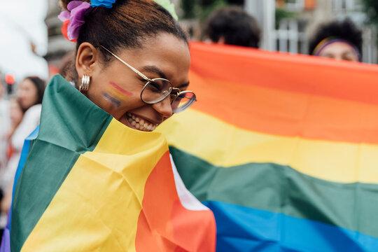 Woman With Rainbow Flag