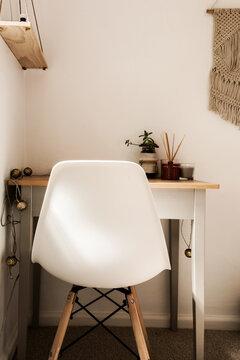 small study desk in teen bedroom