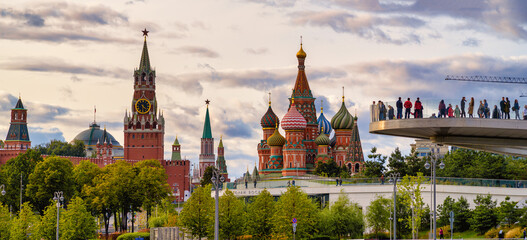 Moscow, Russian Federation/ September 11, 2020; The panoramic view of Kremlin fron river Moscow.
