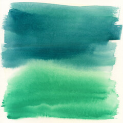 Turquoise and Green Abstract Watercolor Painting