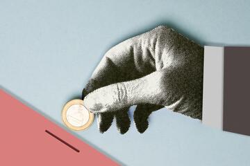 Hand saving money