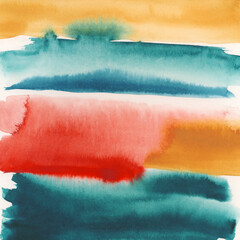 Colorful Striped Abstract Watercolor Painting
