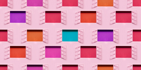 Diversity. Building with open windows Fotobehang