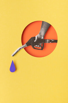 Collage of a hand holding a fuel nozzle.