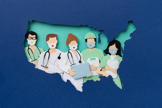 Doctor inside USA map