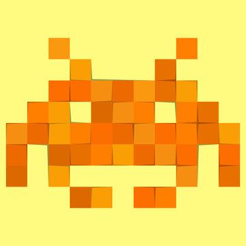 space invader alien monster in pixel format, patchwork EPS 10