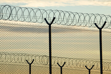 High Security Fence With Barbed Wire