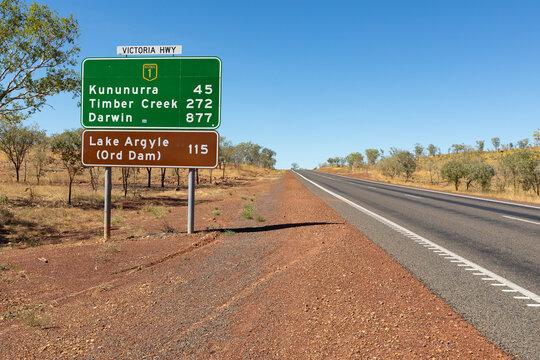 highway on through the Kimberley, with road sign near Kununurra