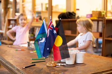 Australian flags at a pre-school