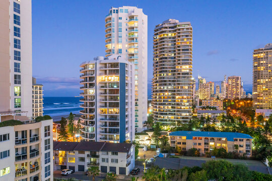 Hi rise apartment buildings at twilight on the Gold Coast