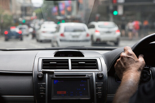 View from inside a taxi looking out at sydney traffic