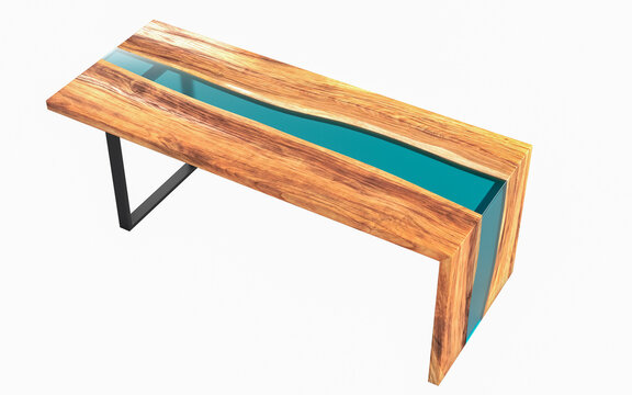 Live edge wooden table with green epoxy resin on a white background. 3D rendering