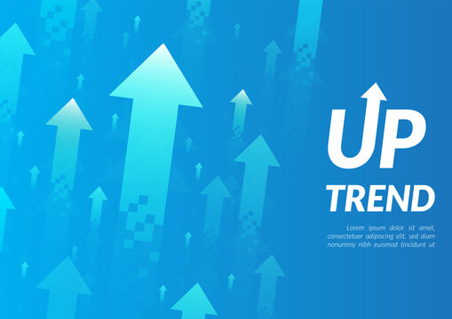 Uptrend abstract background. A group of digital green and blue arrows point up in the air shows about feeling that rise, growth, motivation, hope and more positive meaning.