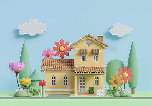 Front of small house in pastel color cartoon style image 3d render,It has a flat blue color background. Decorated with a low polygon plants and flower