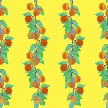 Seamless pattern apricot tree branch with ripe apricots watercolor stylized illustration