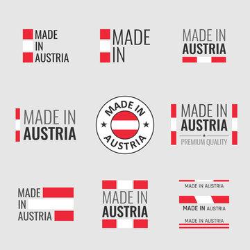 made in Austria labels set, Republic of Austria product emblem