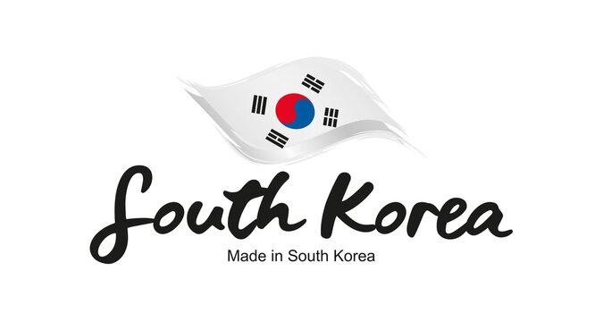 Made in South Korea handwritten flag ribbon typography lettering logo label banner