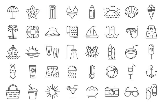Beach icons set. Outline set of beach vector icons for web design isolated on white background