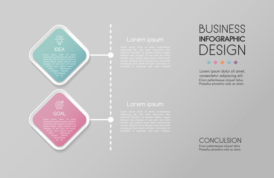 Business infographic layout with 2 steps. Timeline. Vector