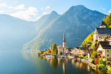 Hallstatt village in Austria. Alps mountains, beautiful autumn landscape. Famous travel destination.
