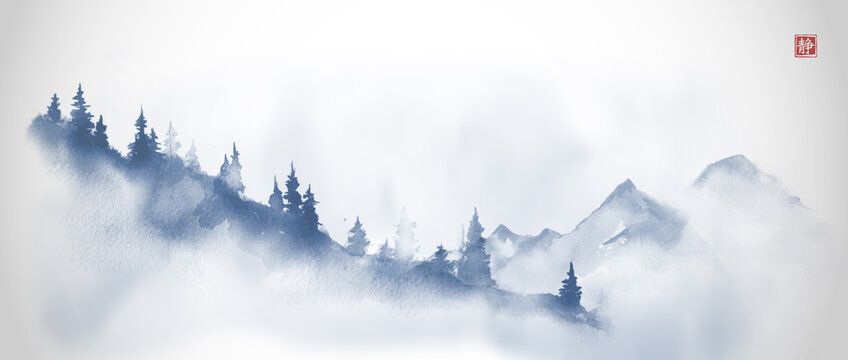 Blue mountain slope with pine trees in fog and far mountains. Traditional oriental ink painting sumi-e, u-sin, go-hua in vintage style. Translation of hieroglyph - silence