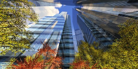 Wall Mural - Autumn skyscrapers against the sky with clouds, modern high-rise buildings, 3D rendering