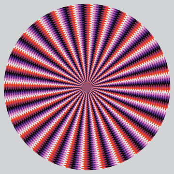 Optical illusion with motion effect vector background. Wavy stripes move around center.
