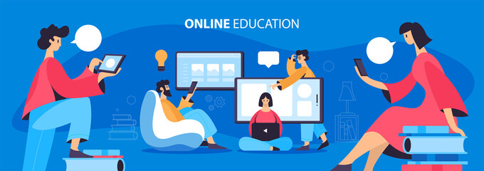 Online Education Flat Banner