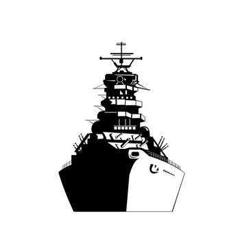 American or United States Battleship Warship Dreadnought Naval Fighting Ship Front View Retro Black and White