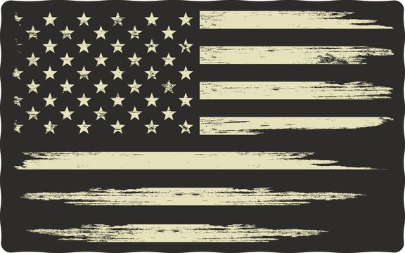 Colored illustration of the USA flag. Symbols of the USA. Vector illustration with a grunge texture on a black background. Illustration on the theme of freedom and independence of America.