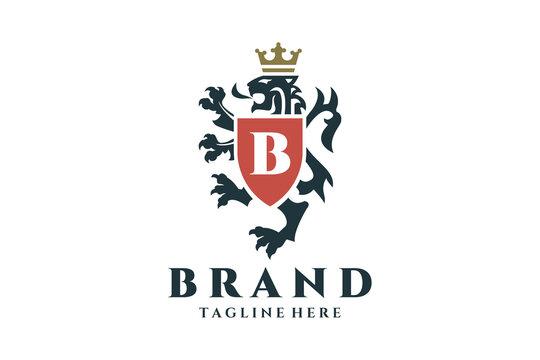 Coat of arms heraldic lion logo design.