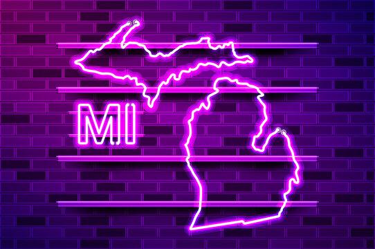 Michigan US state glowing purple neon lamp sign