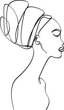 African woman traditional portrait face prefile silhouette line art