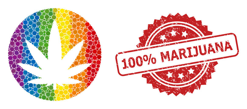 Rubber 100% Marijuana Stamp and LGBT Medical Cannabis Collage