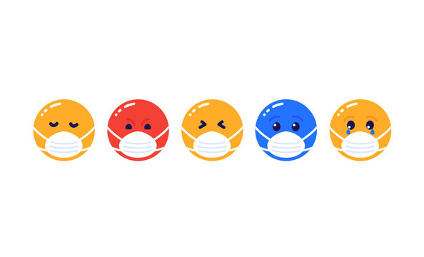 emoji in mask, emoticons vector icons