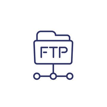 ftp folder line icon on white