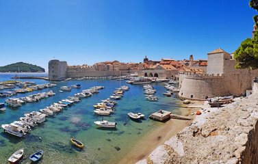 Panorama view on the historical old town Dubrovnik, Croatia