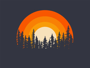 Obraz Forest landscape trees silhouettes with sunset on background. T-shirt or poster design illustration. Vector illustration - fototapety do salonu