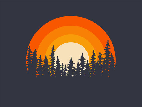 Forest landscape trees silhouettes with sunset on background. T-shirt or poster design illustration. Vector illustration