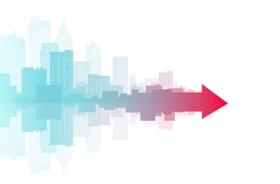 Vector banner of a cityscape merging into red arrow