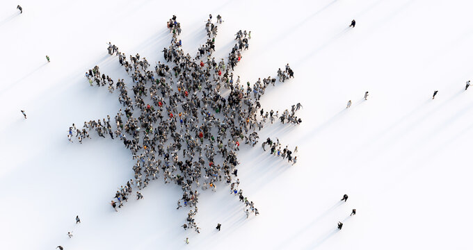 Large group of people making a virus shape.