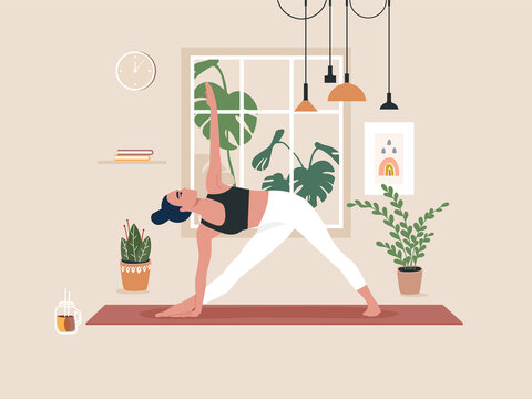 Young woman doing yoga exercises, practicing meditation and stretching on the mat. Female character practicing in yoga studio or home. Trendy flat vector illustration.