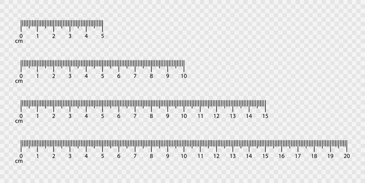 Markup for rulers. Measuring scales. Vector illustration isolated on transparent background. Vector EPS10.