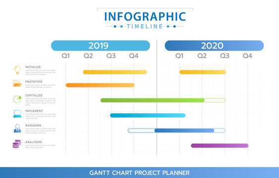 Infographic template for business. Year Modern Timeline diagram calendar with grantt chart, presentation vector infographic.