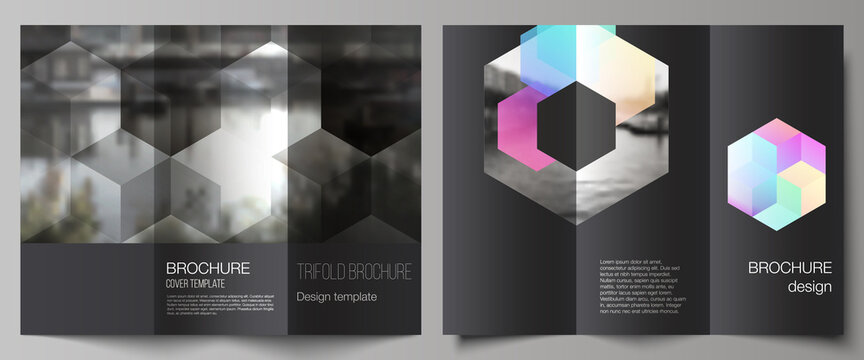 Vector layouts of covers design templates with abstract shapes and colors for trifold brochure, flyer layout, magazine, book design, brochure cover, advertising mockups.