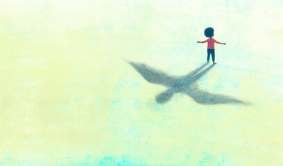Fototapeta Illustration of Freedom hope dream happiness and life concept, African black boy with flying shadow, surreal painting artwork, conceptual art, child obraz