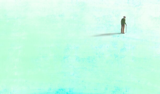 Old man alone in blue