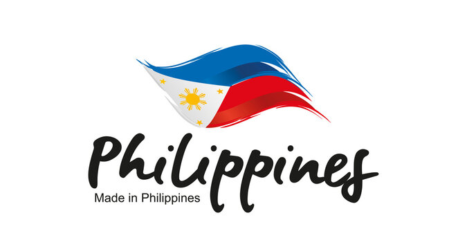 Made in Philippines handwritten flag ribbon typography lettering logo label banner